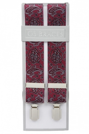 Deep Red Mens Trouser Braces with Burgundy Paisley Design - Available in 2 Sizes